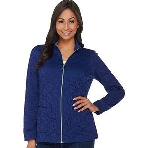 Denim & Company blue zip up jacket with lace